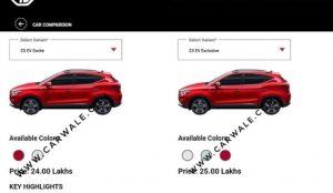 MG ZS EV Price leak