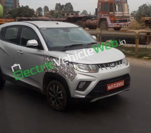 Mahindra KUV100 electric 9 lakh price spotted testing