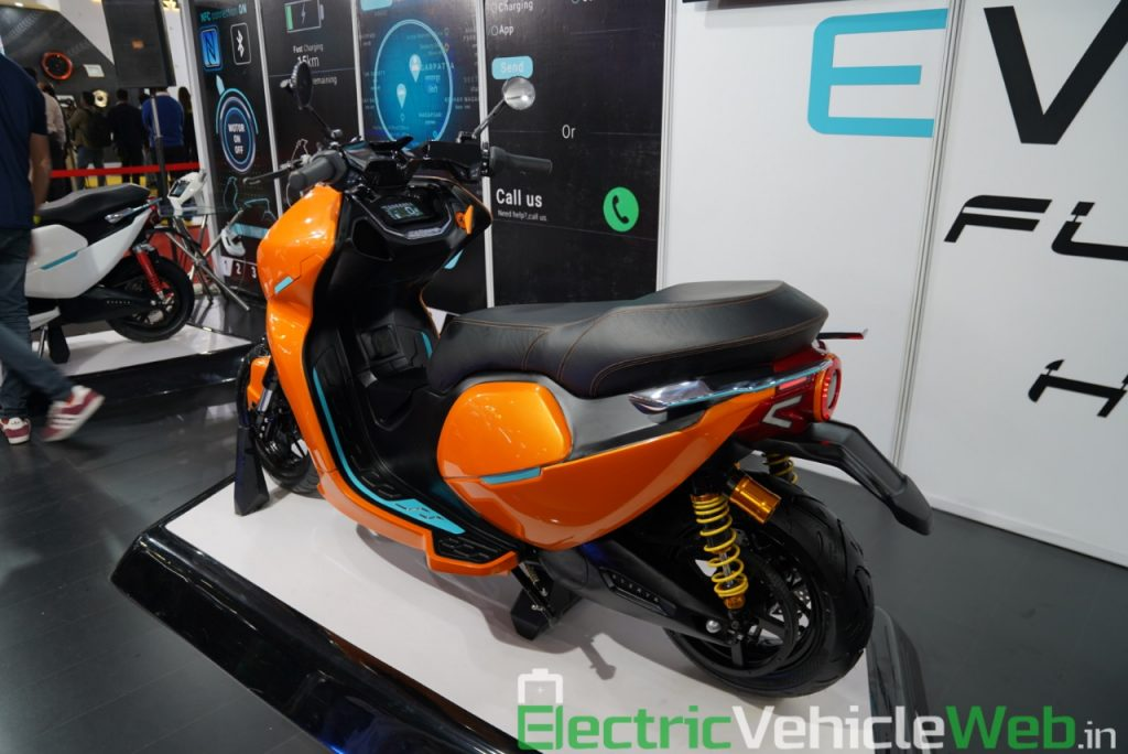 Everve Motors Electric Scooter rear three quarter view 2 - Auto Expo 2020 Live