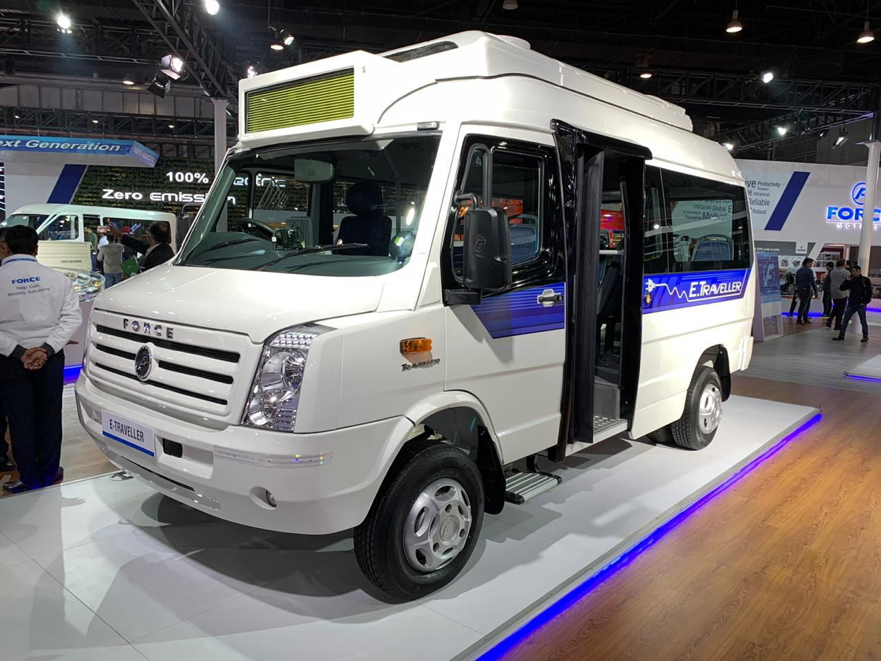 Force Traveller Electric front three quarter view - Auto Expo 2020