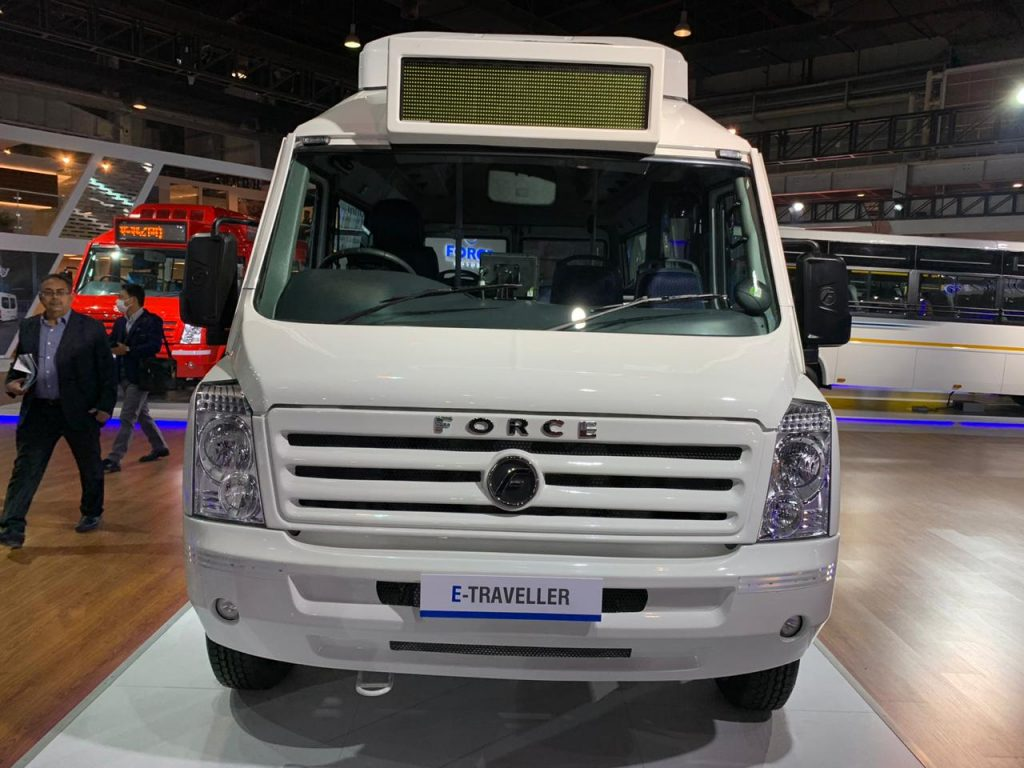 Force Traveller Electric front view - Auto Expo 2020