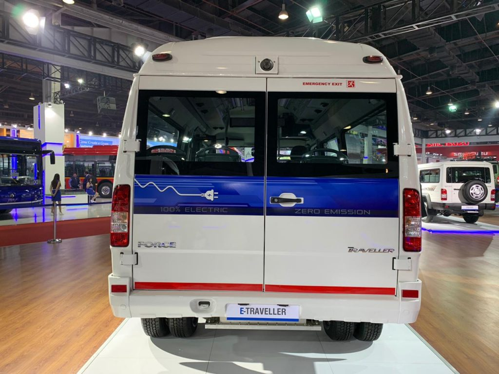 Force Traveller Electric rear view - Auto Expo 2020