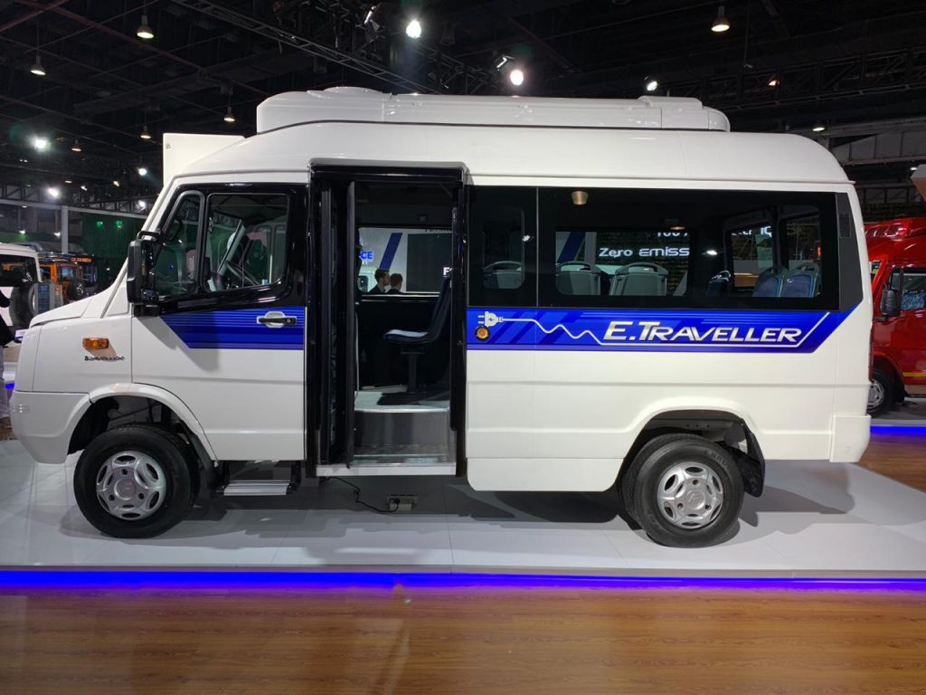 Force Traveller Electric side view - Auto Expo 2020