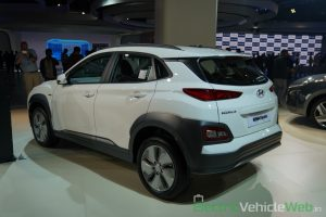 Hyundai Kona Electric rear three quarter view 2 - Auto Expo 2020