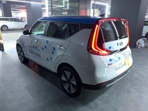 Kia Soul EV Auto Expo 2020 rear three quarter view 1