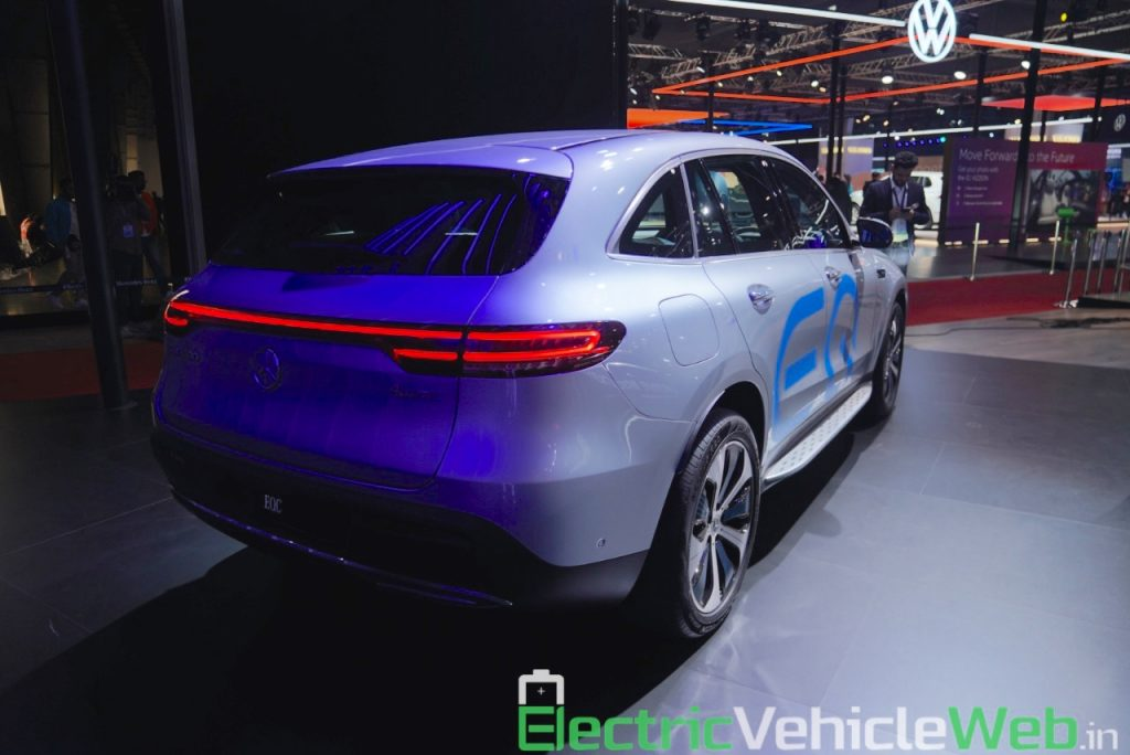 Mercedes EQC rear three quarters right at Auto Expo 2020