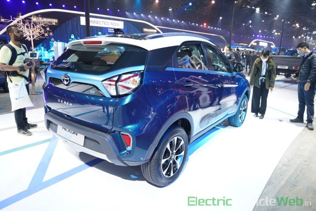 Tata Nexon EV rear three quarter view 1 - Auto Expo 2020