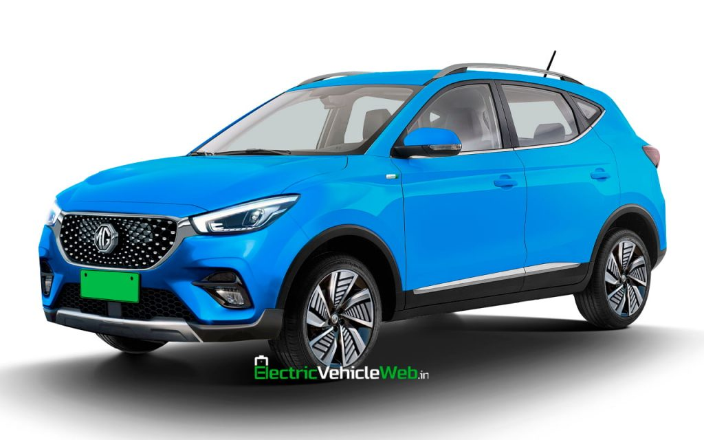 New MG ZS EV facelift front quarters rendering