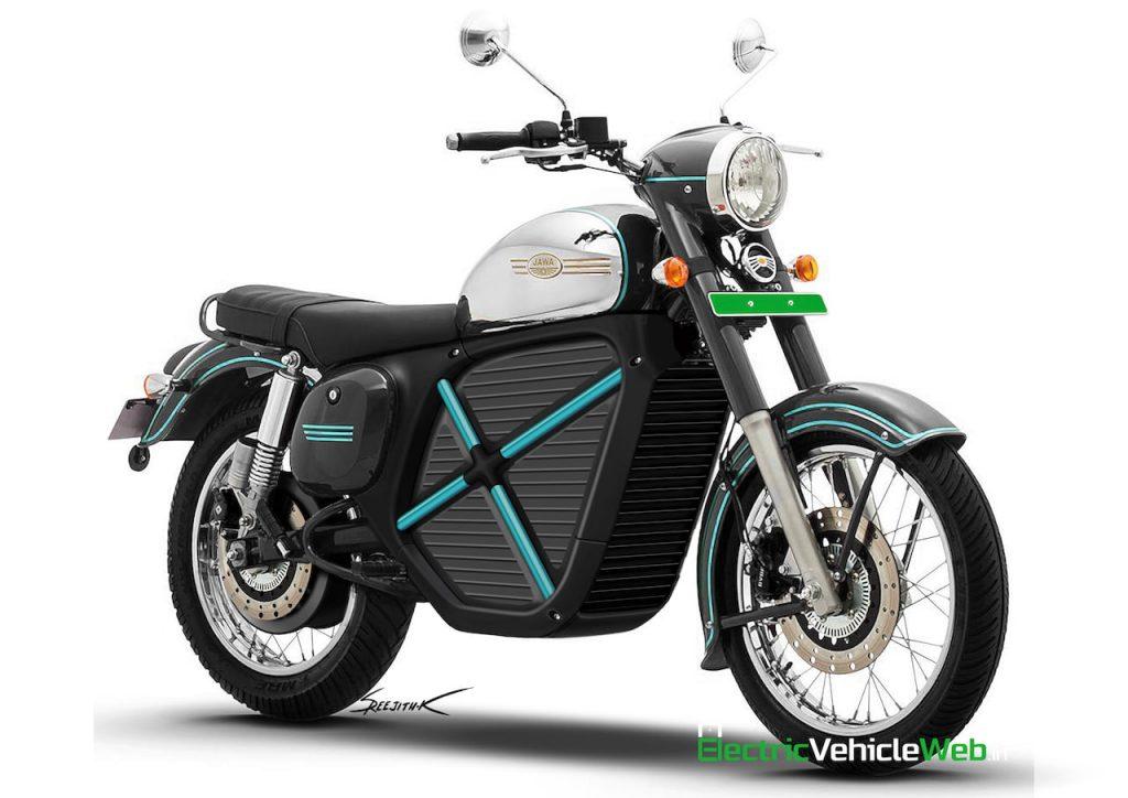 Jawa electric bike rendering front three quarters