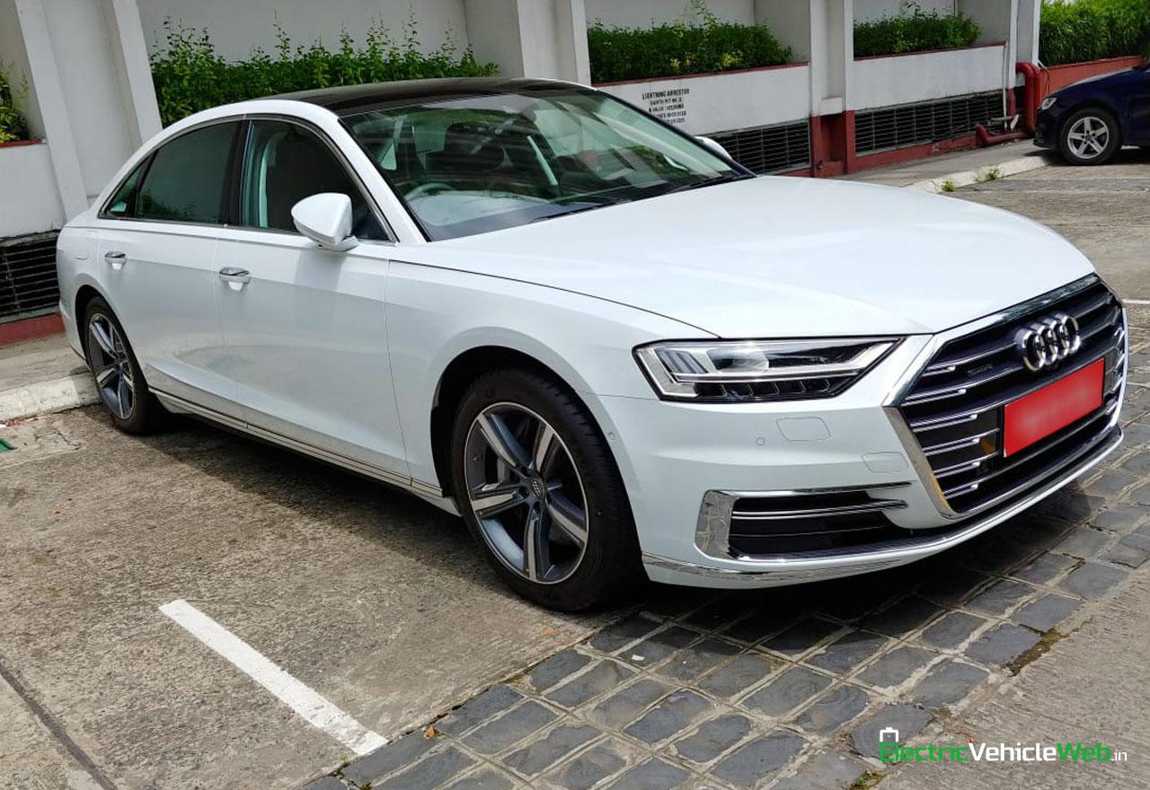New 2020 Audi A8L 55 TFSI front three quarters in India