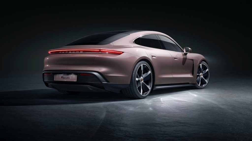 2021 Porsche Taycan RWD rear three quarters