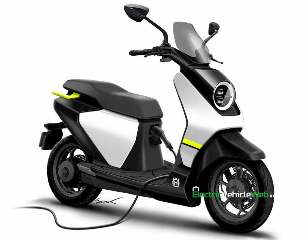 Husqvarna electric scooter charging rendering