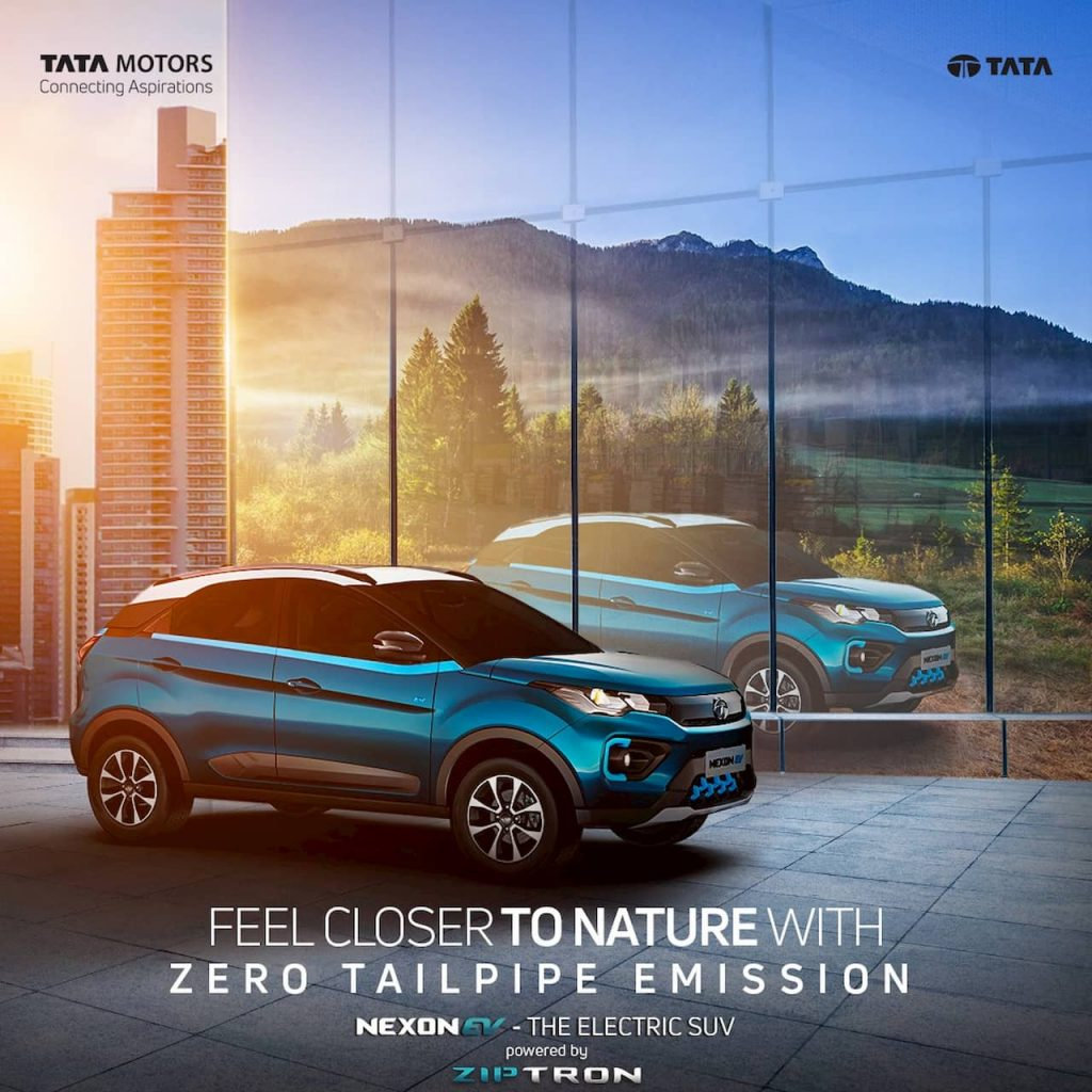 New Tata Nexon EV Bi Arrow grille front quarters right side