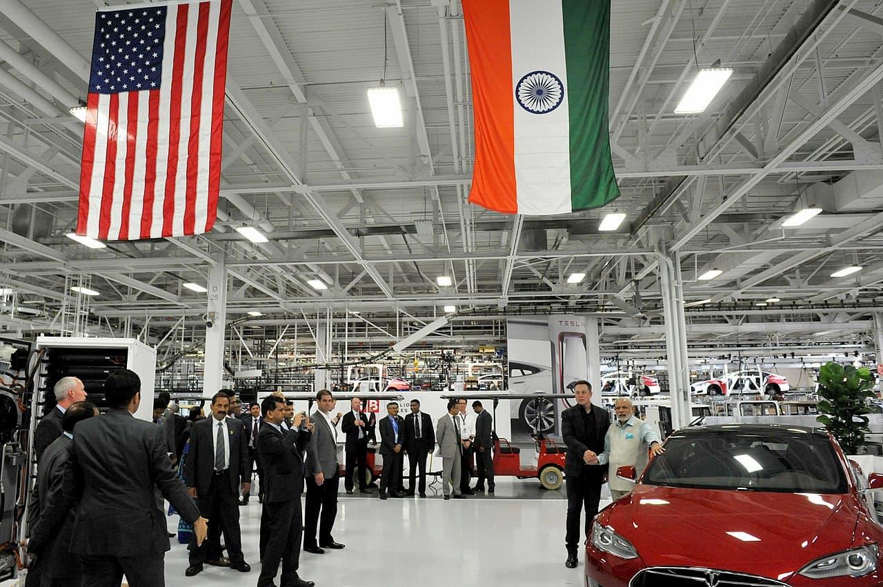 Tesla Elon Musk Narendra Modi 2015 meet