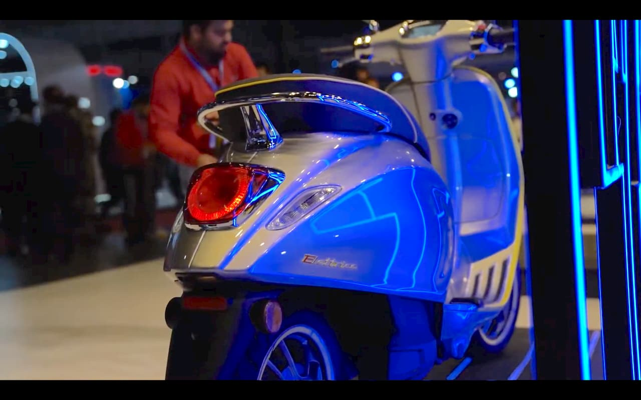 Vespa electric scooter at Auto Expo