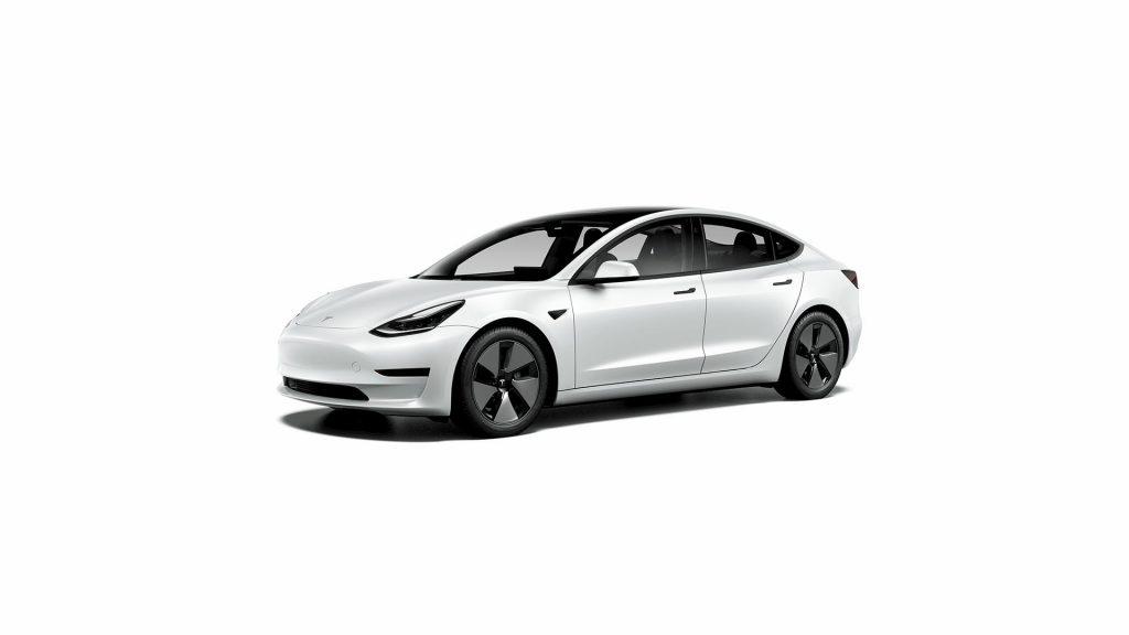Base Tesla Model 3 Standard Range Plus white front quarters