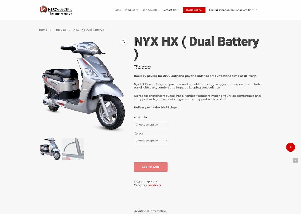 Hero Nyx HX booking website