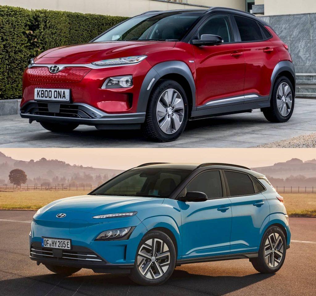 2021 Hyundai Kona Electric facelift vs. 2018 Hyundai Kona Electric front quarters