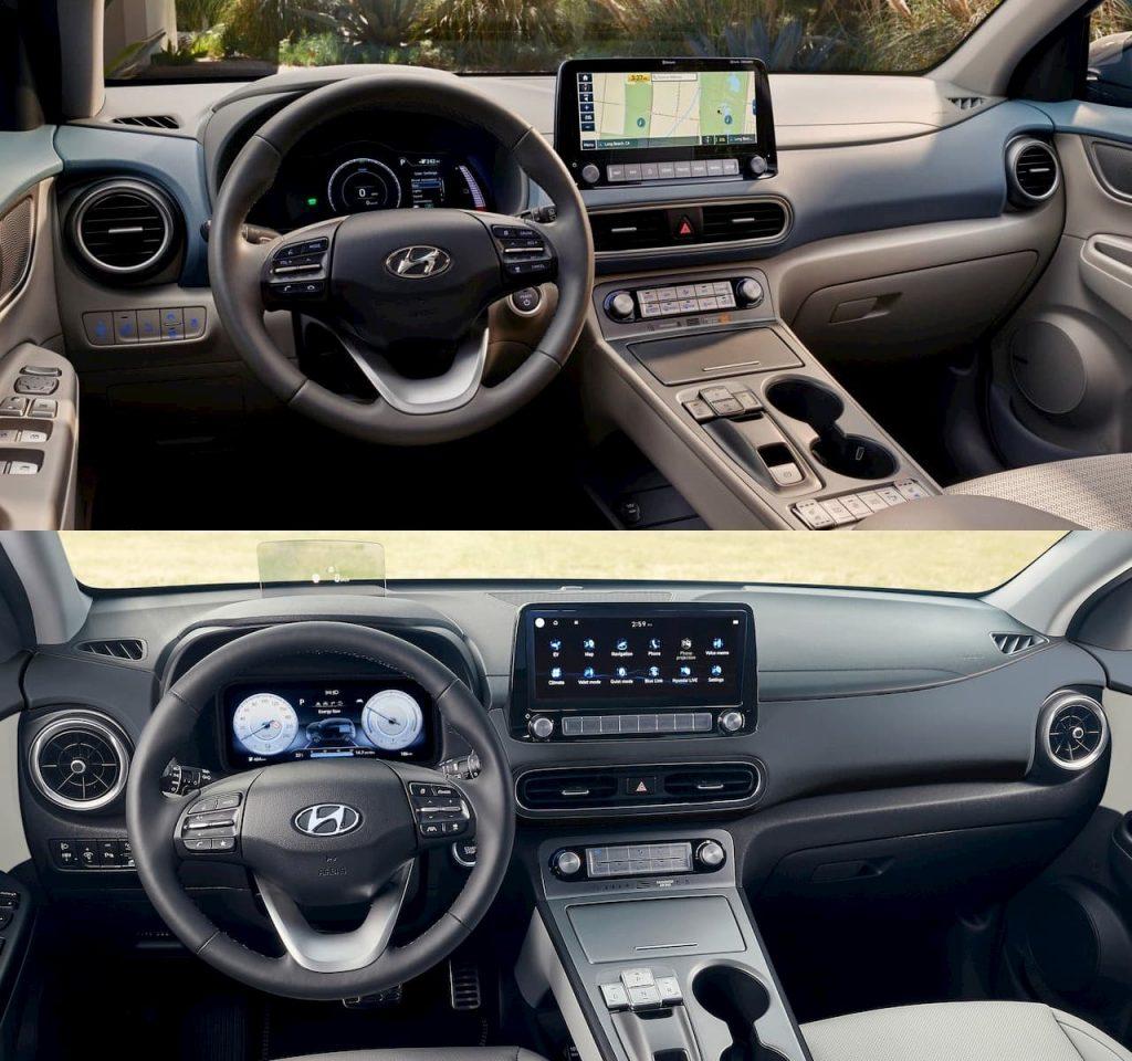 2021 Hyundai Kona Electric facelift vs. 2018 Hyundai Kona Electric interior dashboard
