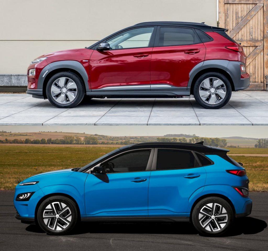 2021 Hyundai Kona Electric facelift vs. 2018 Hyundai Kona Electric profile side