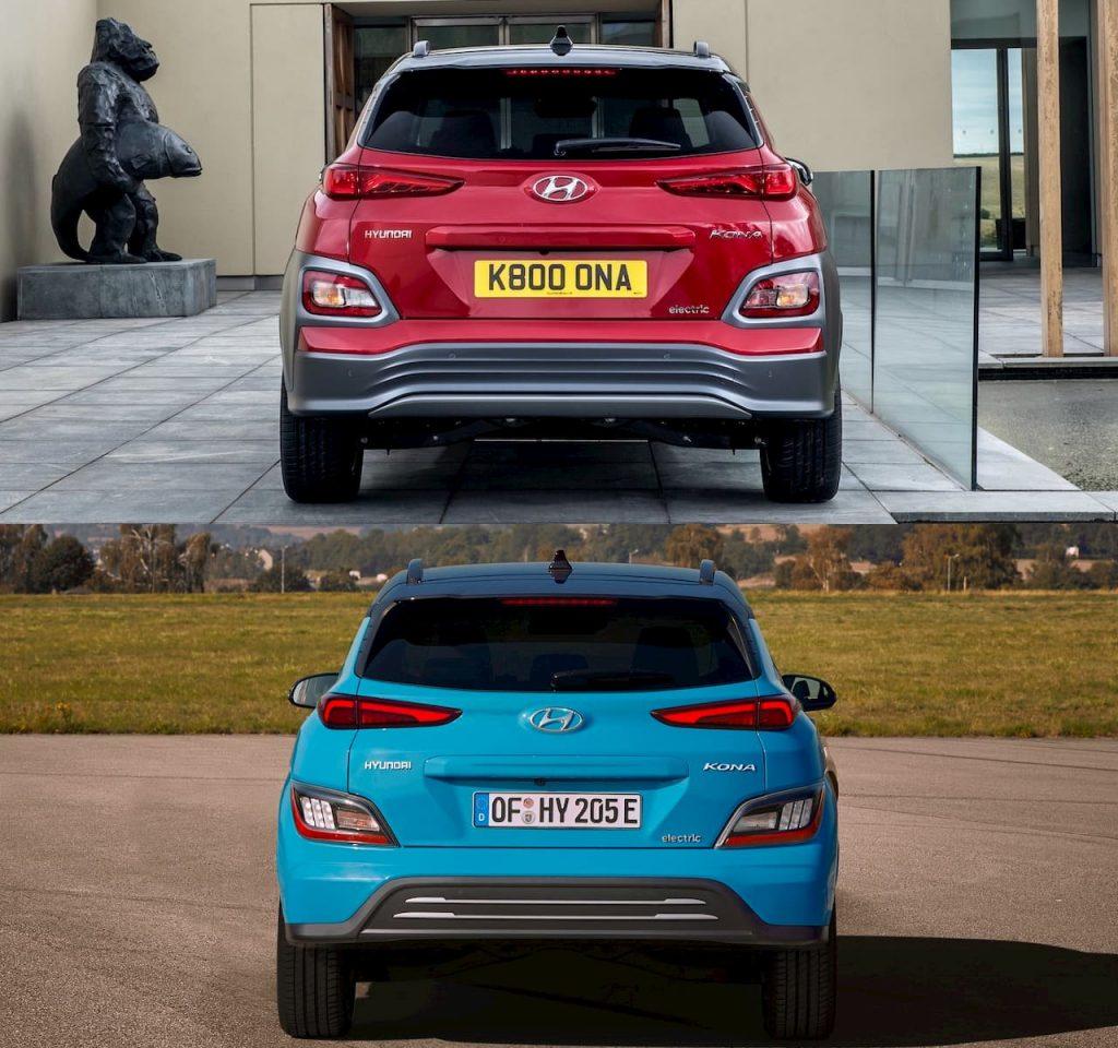 2021 Hyundai Kona Electric facelift vs. 2018 Hyundai Kona Electric rear
