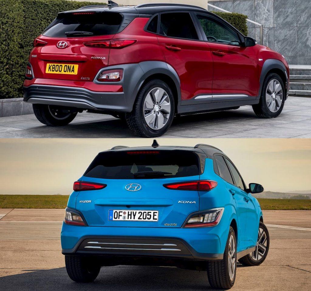 2021 Hyundai Kona Electric facelift vs. 2018 Hyundai Kona Electric rear quarters