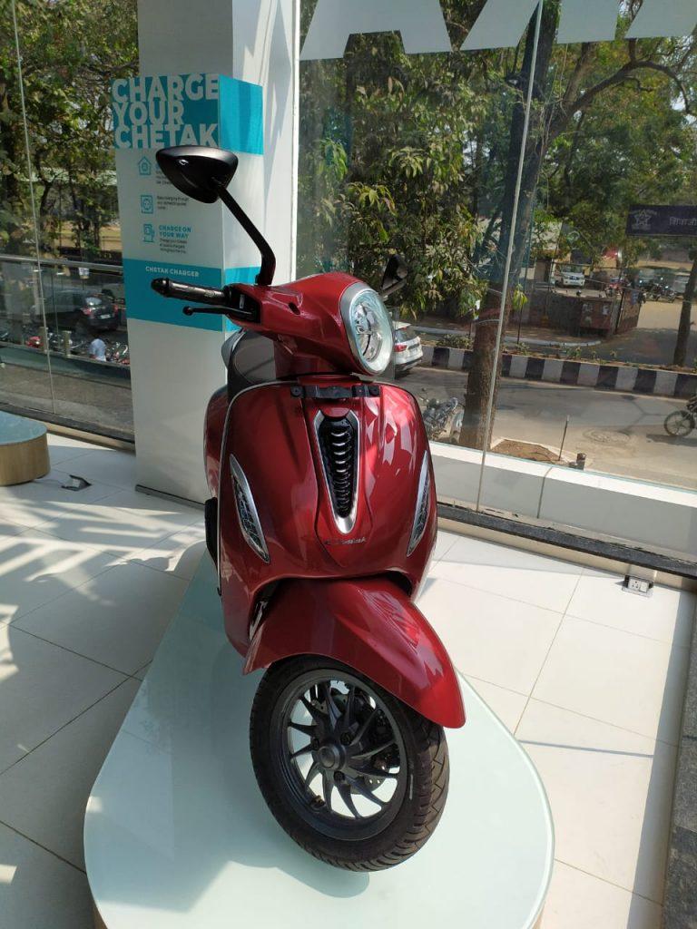 Bajaj Chetak electric scooter red colour photo