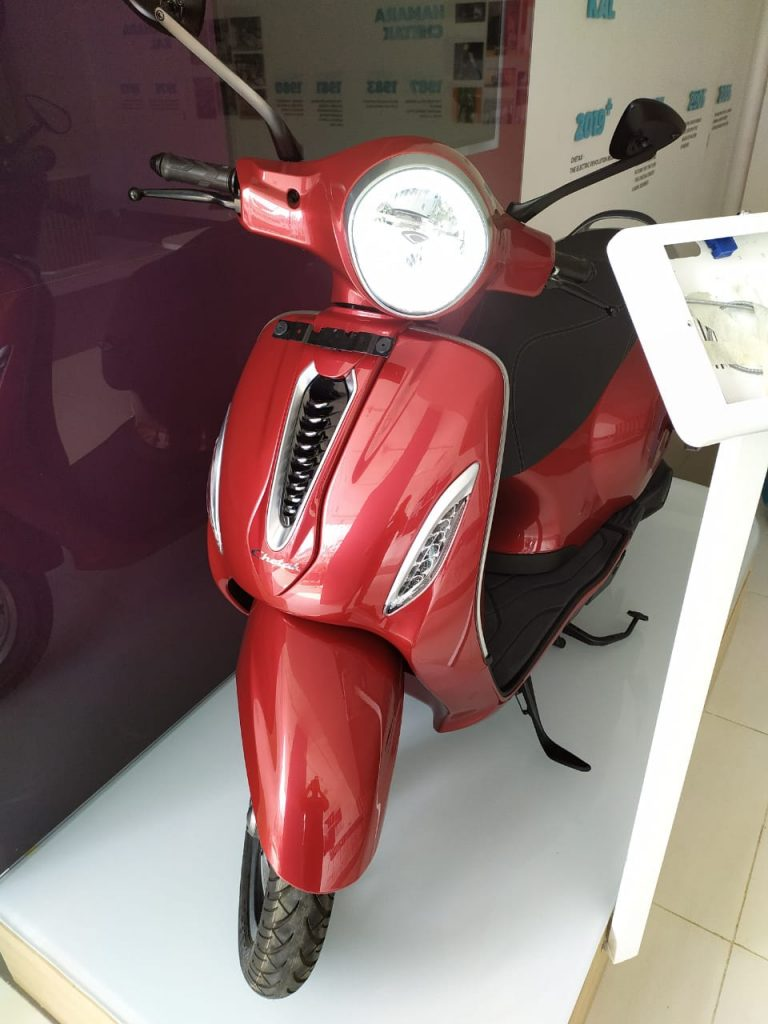 Bajaj Chetak electric scooter red front photo