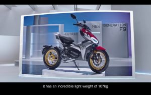 KYMCO F9 electric motorcycle front three quarters