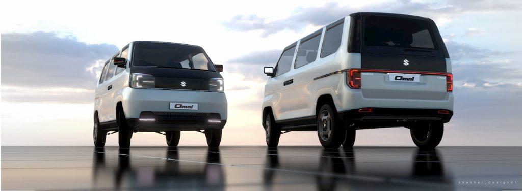 Front and Rear of the Maruti Omni EV 2021 concept