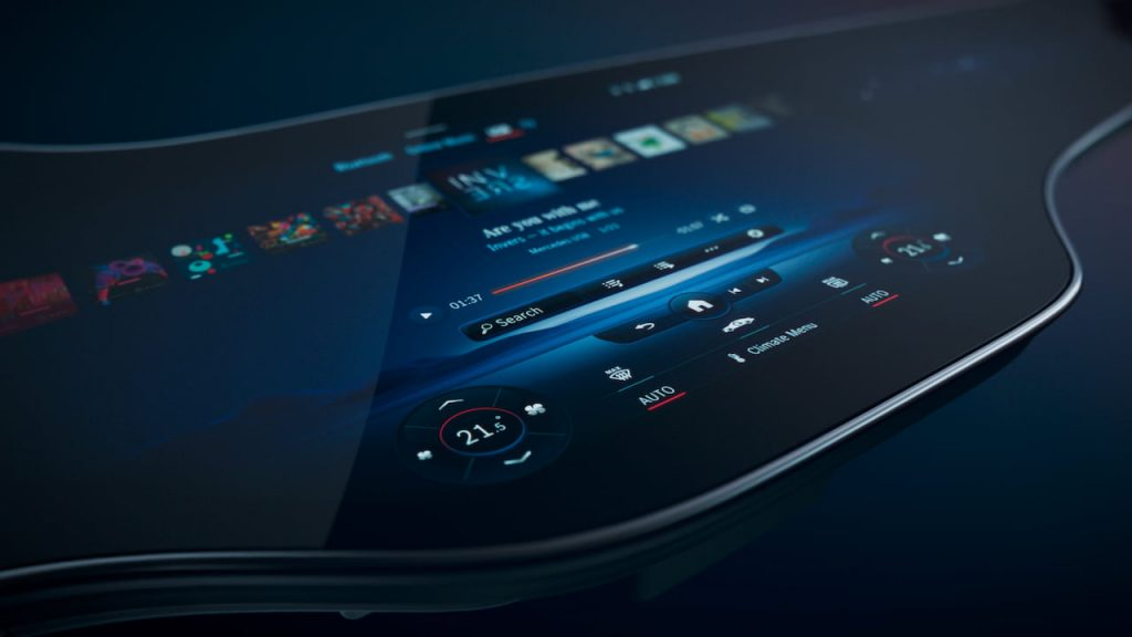 Mercedes EQS infotainment MBUX Hyperscreen central display