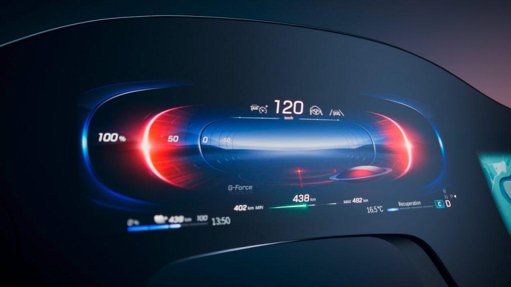 Mercedes EQS instrument cluster MBUX Hyperscreen