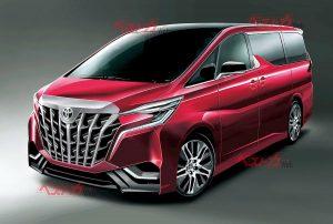 Next-gen Toyota Alphard 2021 front quarters rendering