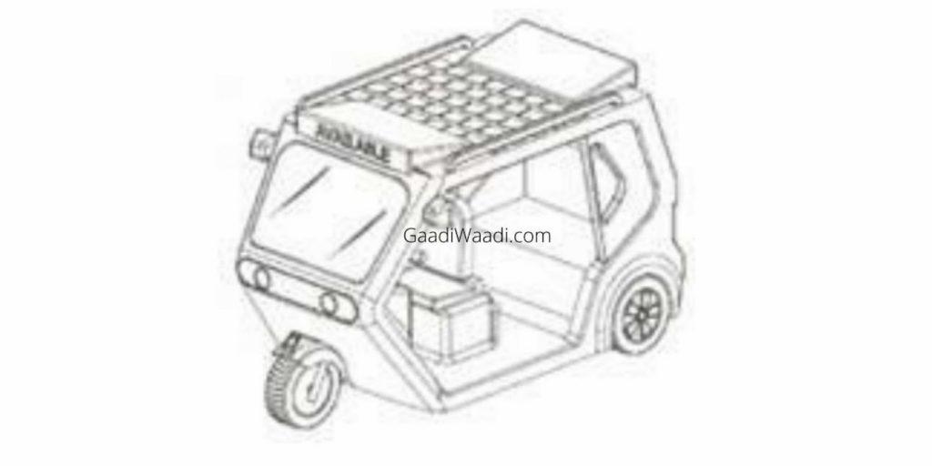 Ola electric auto rickshaw patent image solar roof