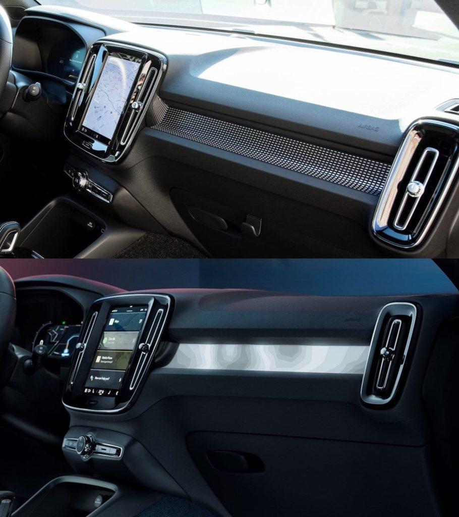 Volvo C40 Recharge interior vs. Volvo XC40 Recharge interior