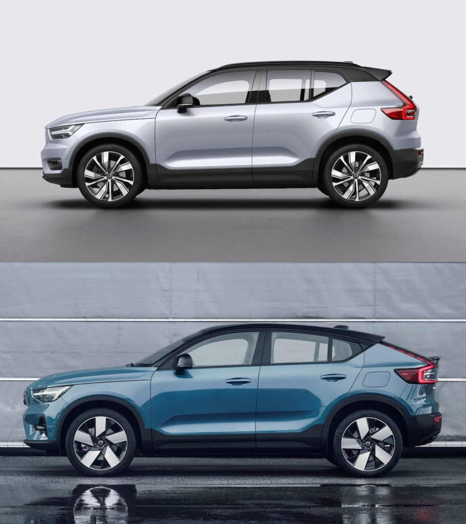 Volvo C40 Recharge side vs. Volvo XC40 Recharge side
