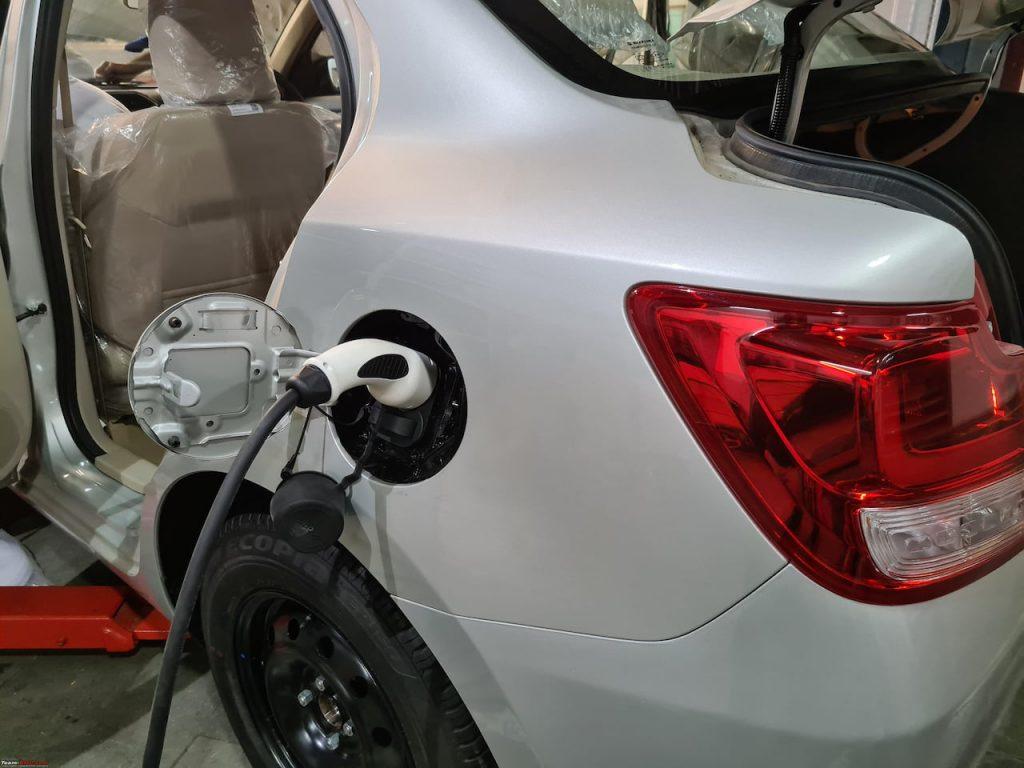 Maruti Dzire Electric EV charging port