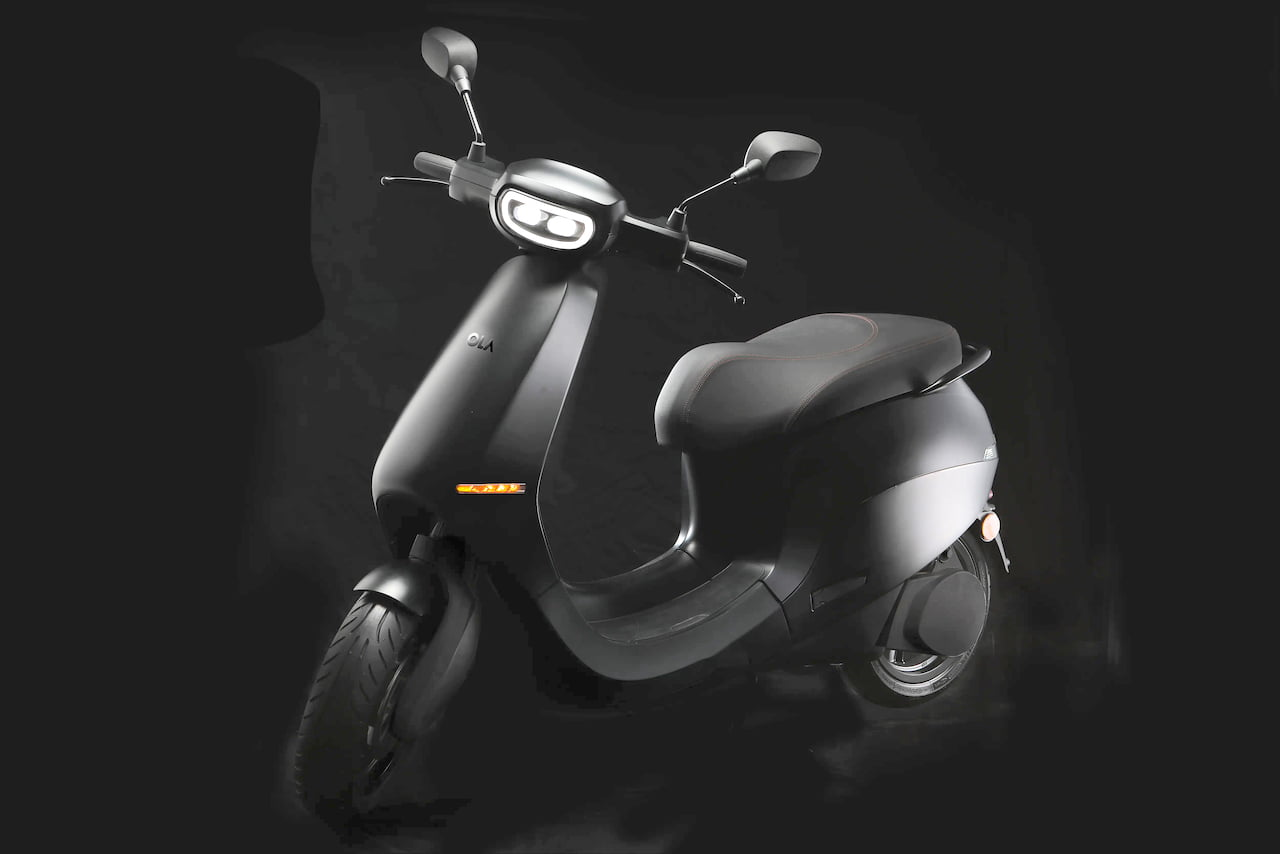 Ola electric scooter front three quarters