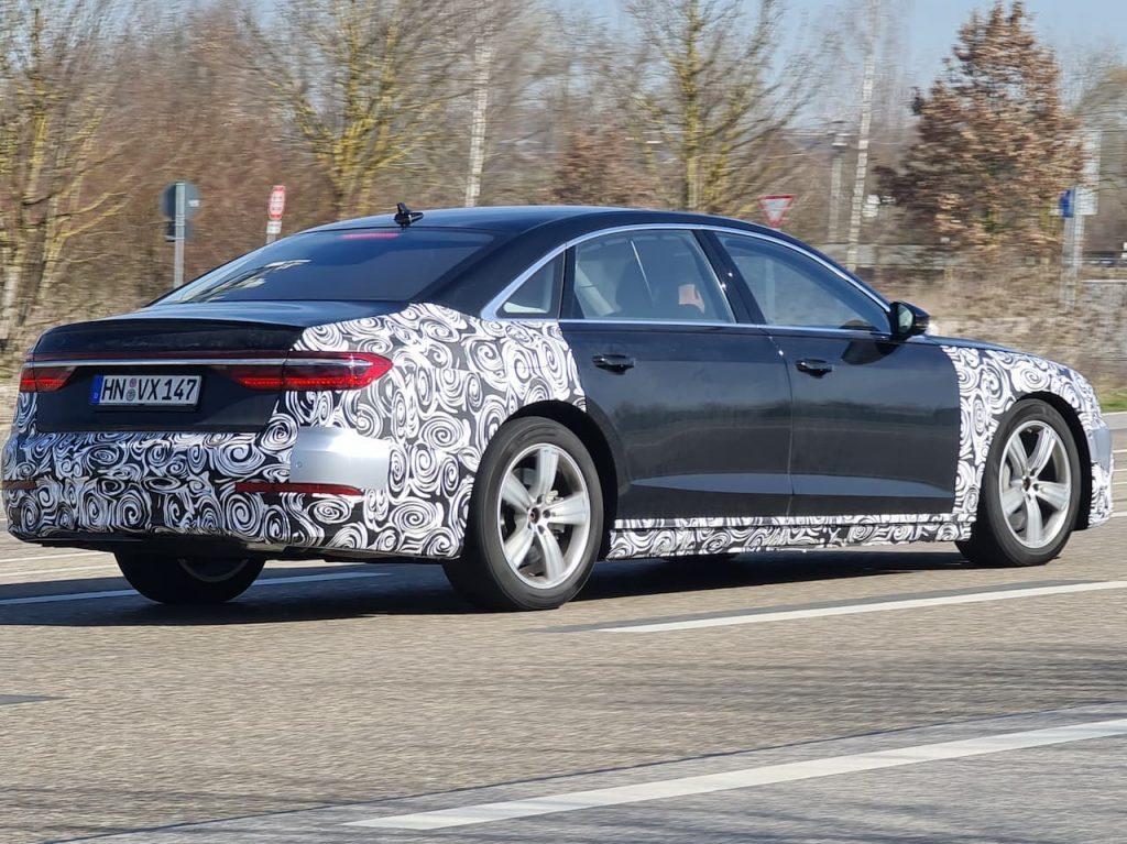 2022 Audi A8 facelift rear spied