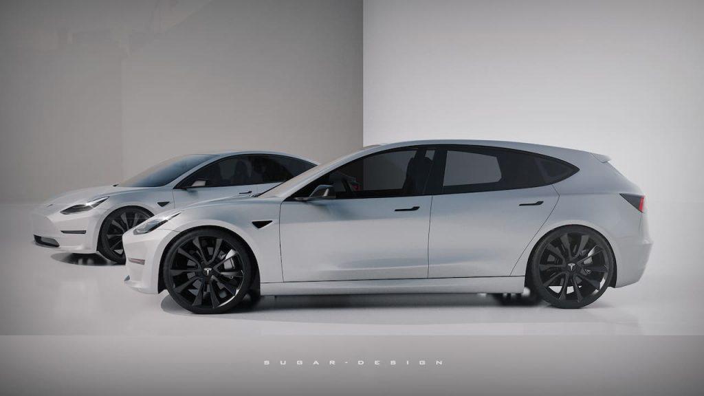 Tesla Model 2 side profile rendering