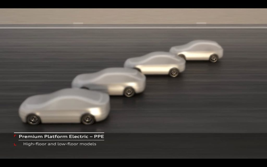 Audi PPE platform models teasing the Audi Q6 e-tron