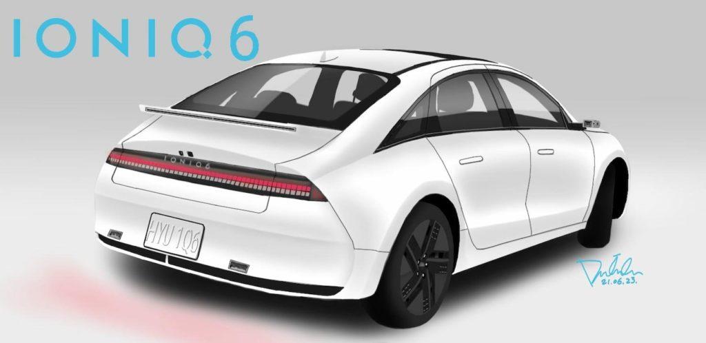 Hyundai Ioniq 6 rear rendering