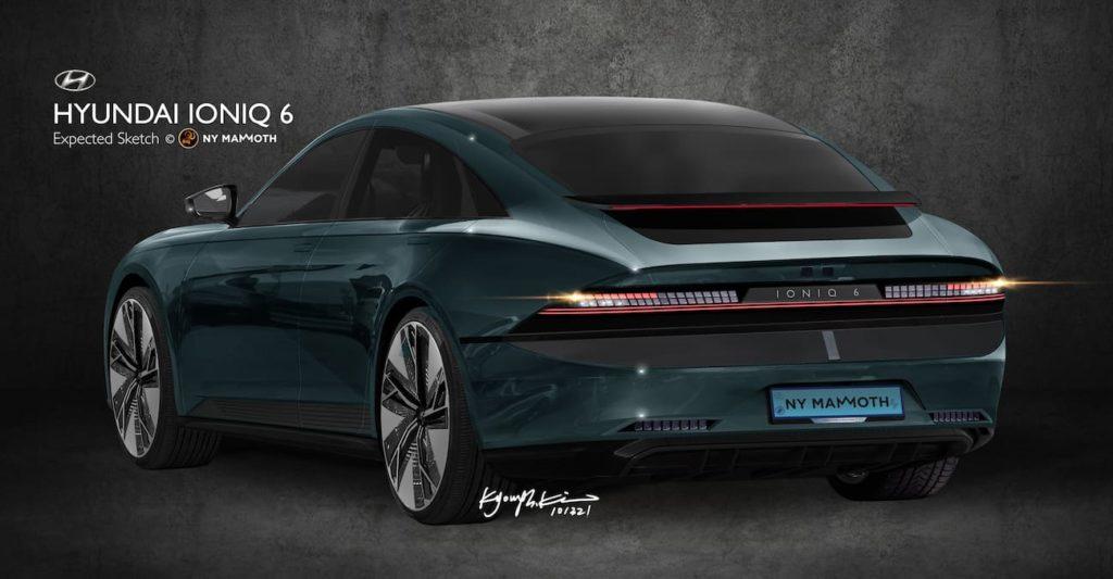 Hyundai Ioniq 6 rear rendering new